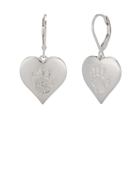 Heart Earrings Handprint White Gold Keepsake