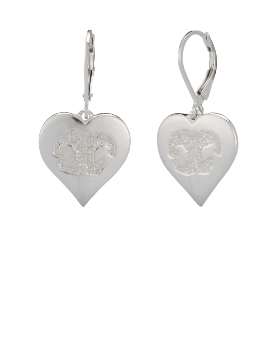 Pet Heart Earrings Nose Print White Gold Keepsake