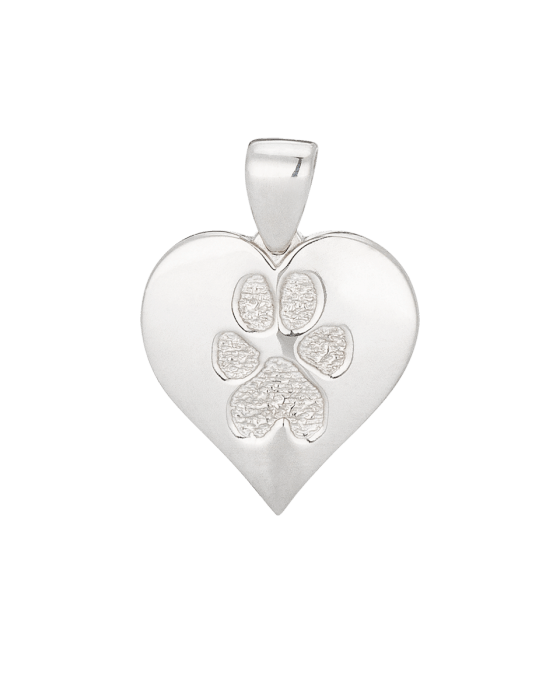 Heart Paw Print White Gold Keepsake