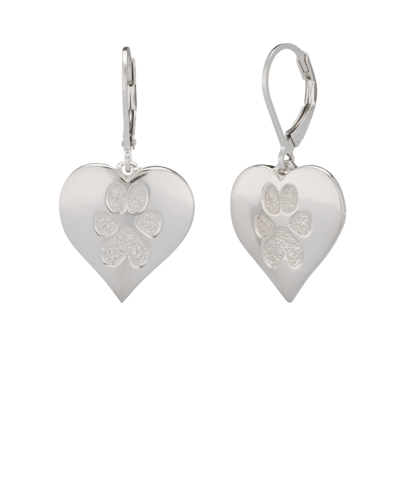 Pet Heart Earrings Paw Print Sterling Keepsake