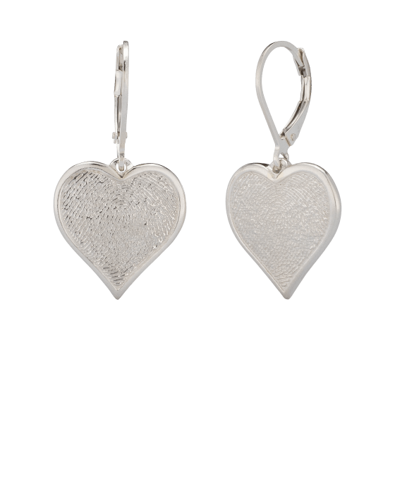 Heart Earrings Print White Gold Keepsake