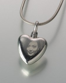 Laser Etched Photo Heart Keepsake Jewelry