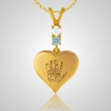 Heart Hand Print 14k Yellow Gold Keepsake