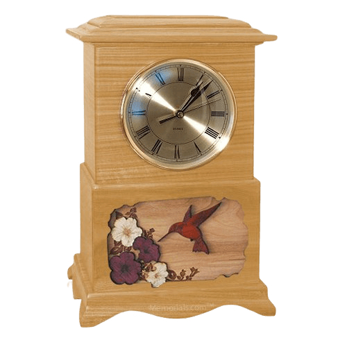 Hummingbird Clock Oak Cremation Urn