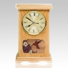 Hummingbird Clock Oak Cremation Urn