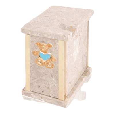Design Perlato Teddy Blue Heart Marble Urn
