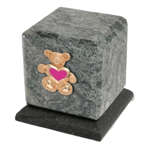 Graceful Jade Teddy Pink Heart Cremation Urn