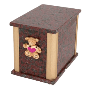 Solitude African Red Teddy Pink Heart Cremation Urn