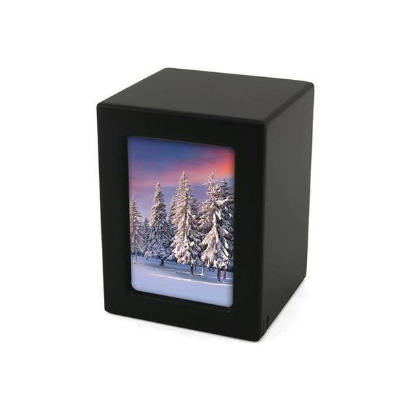 Black Infinity Small Photo Wood Urn
