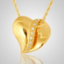 Crystal Ribbon Heart Cremation Pendant IV