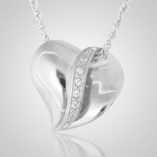 Crystal Ribbon Heart Cremation Pendant
