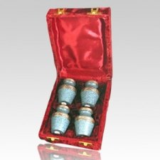 Blue Keepsake Cremation Urn Set