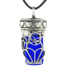 Kitty Cat Blue Cremation Necklace