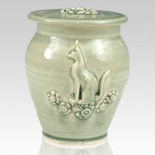 Kitty Light Green Ceramic Cremation Urn