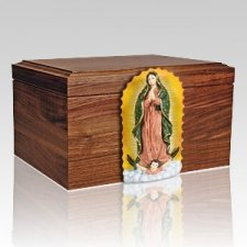 Our Lady Figurine Wood Cremation Urn