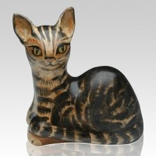 Laying Cat Ceramic Cremation Urn