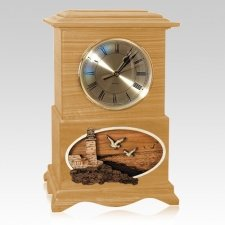 Lighthouse Clock Oak Cremation Urn