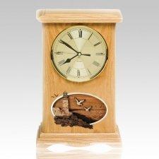 Lighthouse Clock Oak Cremation Urn