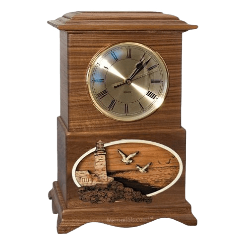 Lighthouse Clock Walnut Cremation Urn