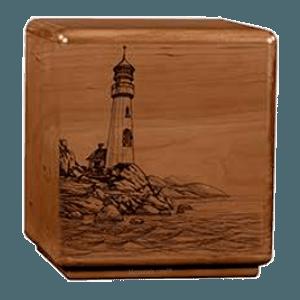 Solemn Lighthouse Wood Cremation Urn