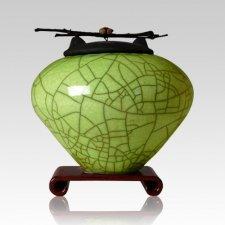 Raku Lime Green Large Cremation Urn