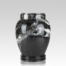 Black Zebra Marble Medium Cremation Urn