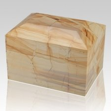 Teakwood Square Large Marble Cremation Urn