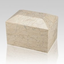 Botticino Square Small Marble Cremation Urn
