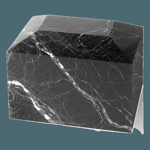 Black Zebra Square Marble Cremation Urns