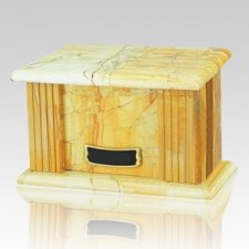 Teakwood Greek Marble Cremation Urn