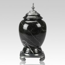 Black Zebra Pewter Marble Cremation Urn