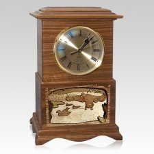 Marshland Clock Walnut Cremation Urn