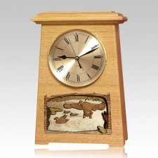 Marshland Astoria Clock Oak Cremation Urn