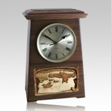 Marshland Astoria Clock Walnut Cremation Urn
