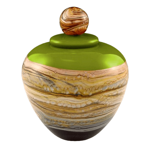 Memoriam Green Large Art Urn