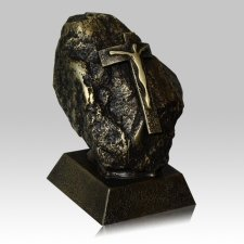 Jesus Rock Brown Patina Funeral Urn