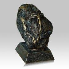 Jesus Rock Green Patina Funeral Urn