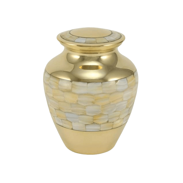 Mother of Pearl Gold Medium Cremation Urn