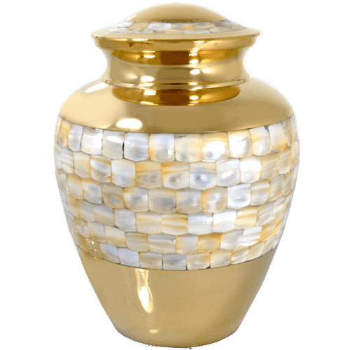 Mother of Pearl Gold Cremation Urn