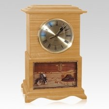 Motorcycle and Cross Clock Oak Cremation Urn