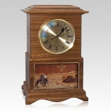 Motorcycle and Cross Clock Walnut Cremation Urn