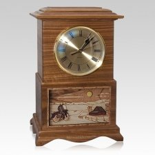 Motorcycle and Farmhouse Clock Walnut Cremation Urn