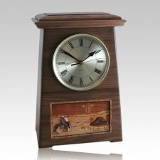 Motorcycle and Cross Astoria Clock Walnut Cremation Urn