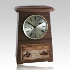 Motorcycle and Farmhouse Astoria Clock Walnut Cremation Urn