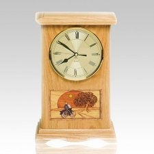 Motorcycle and Sunset Clock Oak Cremation Urn