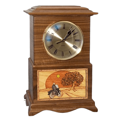 Motorcycle and Sunset Clock Walnut Cremation Urn