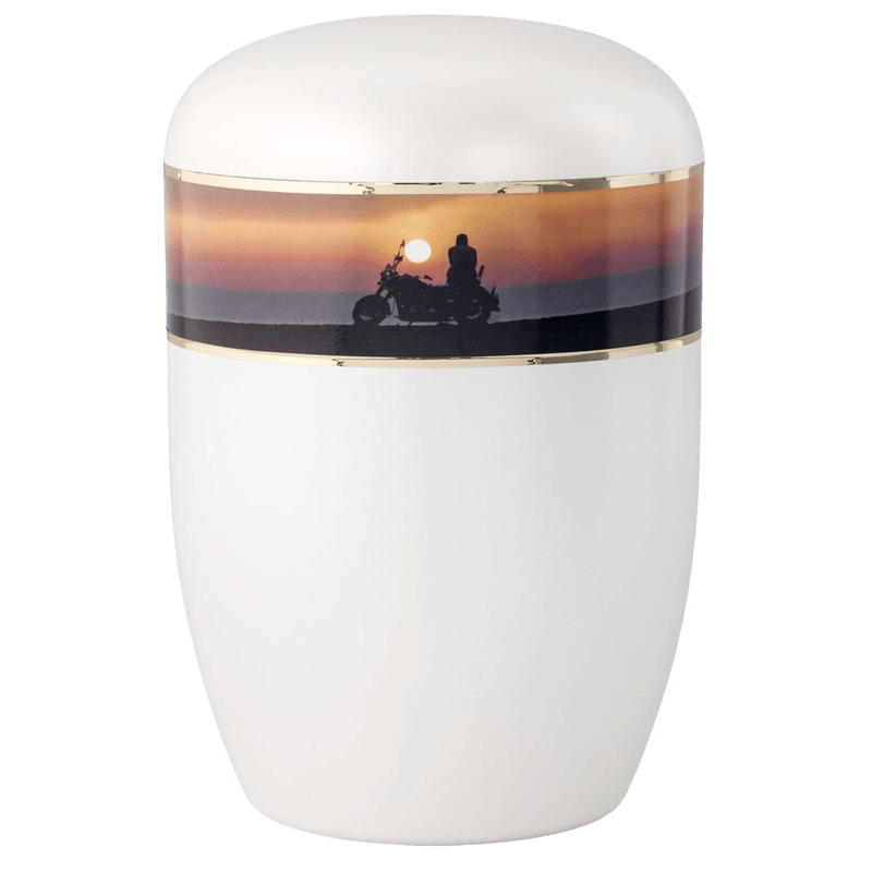 Motorcycle Sunset Biodegradable Urn