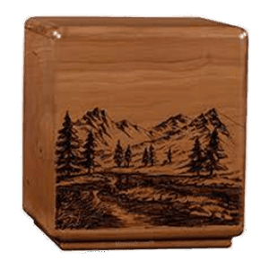 Solemn Mountain Wood Cremation Urn