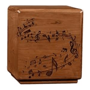 Solemn Notes Wood Cremation Urn