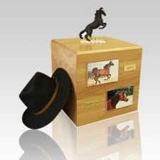 Mustang Black Full Size Horse Urns